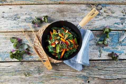 Grønnsakwok med Flower Sprout oppskrift.