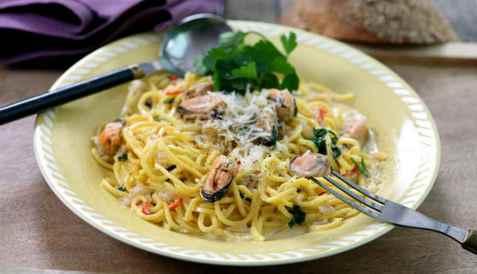 Spaghetti med blåskjell oppskrift.
