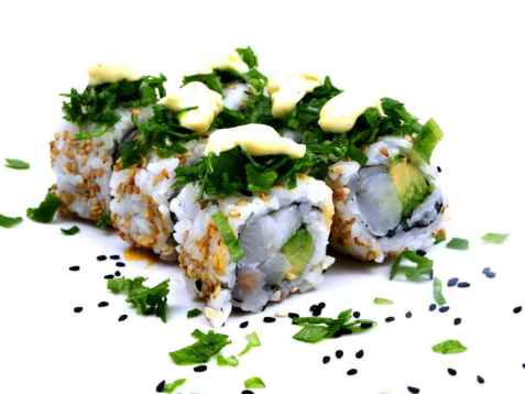 Inside out Maki med kveite og avokado oppskrift.