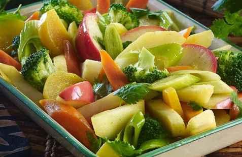 Bakte grønnsaker med asiatisk vri oppskrift.