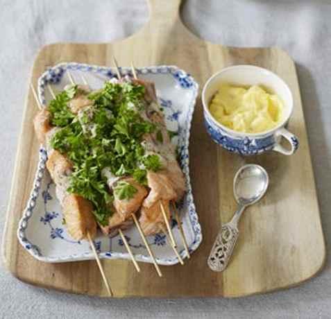Fiskespyd med chilimajones oppskrift.
