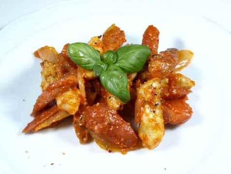 Bilde av Gnocchi med p�lser i tomatsaus.
