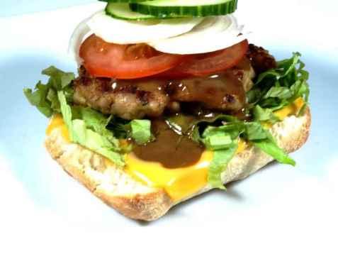 Kyllingburger i ciabatta oppskrift.