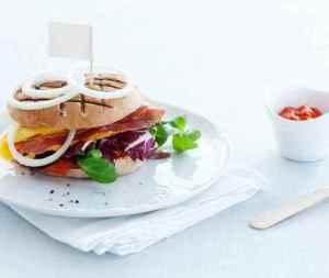 Omelettburger med spekeskinke oppskrift.