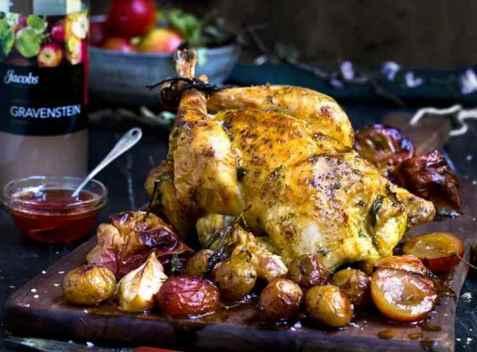 Helstekt kylling med urtesmør oppskrift.