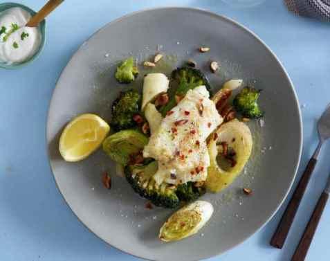 Ovnstekt torsk med brokkoli og purre oppskrift.