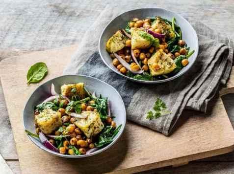 Wok med torsk, kikerter og spinat oppskrift.