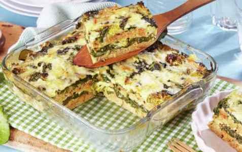 Strata med spinat og brokkoli oppskrift.