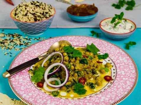 Indisk curry med kikerter og spinat oppskrift.