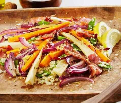 Bulgursalat med bakte rotgrønnsaker oppskrift.