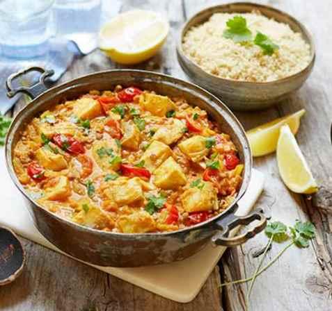 Indisk dal med torsk og fullkornscouscous oppskrift.