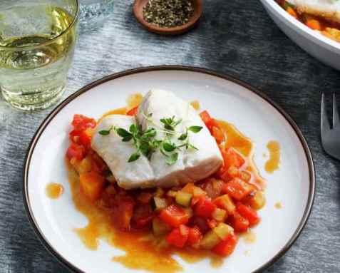 Seipanne med grønnsaker oppskrift.