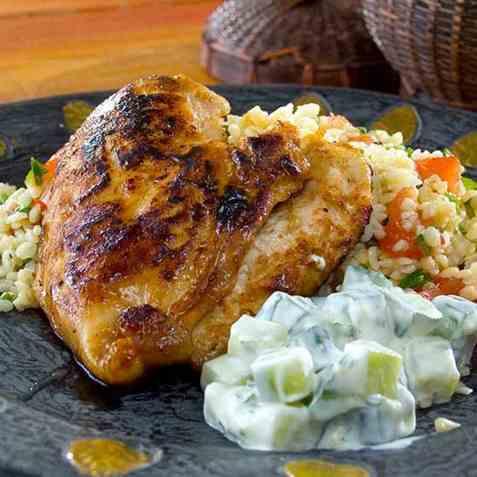 Marokkansk kylling med harissa marinade oppskrift.