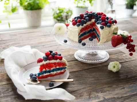 Kake i flaggets farger oppskrift.