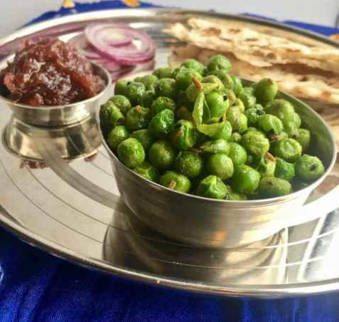 Spicy green peas/Pikante grønne erter oppskrift.