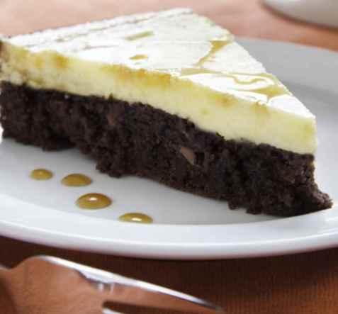 Melkesjokolade brownies ostekake oppskrift.