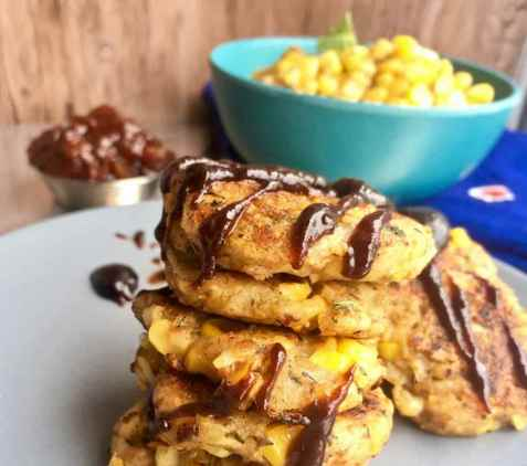Panir corn tikki - Indisk vegetarburger oppskrift.