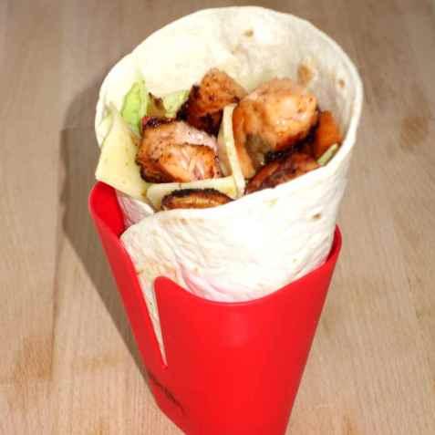 Taco med laks i lefser oppskrift.