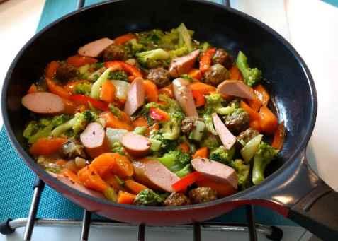 Broccolipanne med pølser og kjøttboller oppskrift.