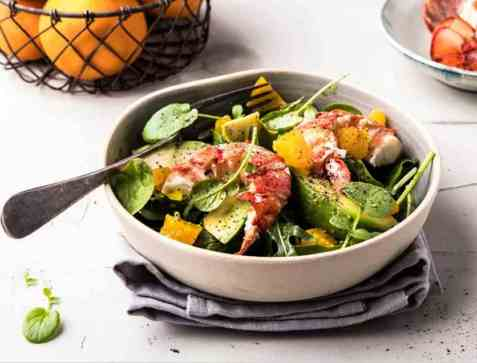 Hummersalat med mango og appelsin oppskrift.