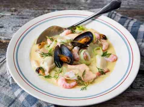 Dagens oppskrift er Kremet fiskesuppe med havets skatter.