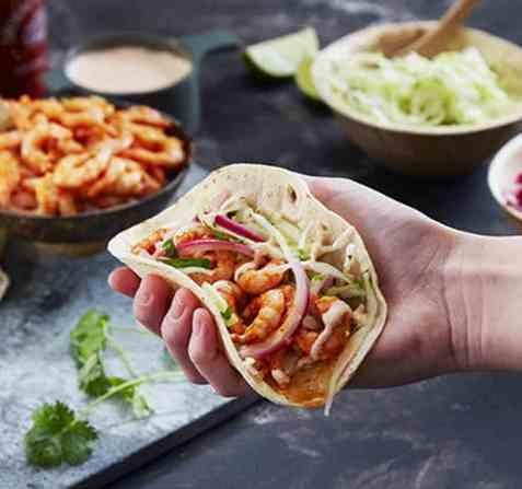 Fish tacos med reker oppskrift.