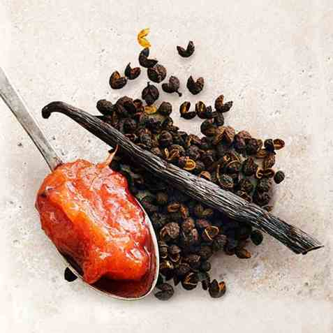 Rabarbra, vanilje og timutpeppersyltetøy oppskrift.