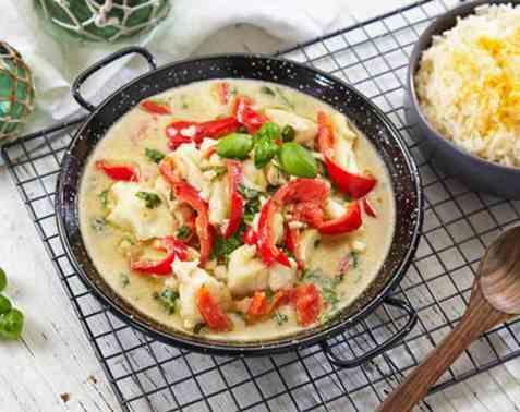 Torsk i grønn curry oppskrift.