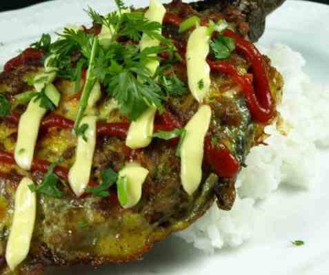 Tortang Talong with Giniling eller eggplant med kjøttdeig oppskrift.