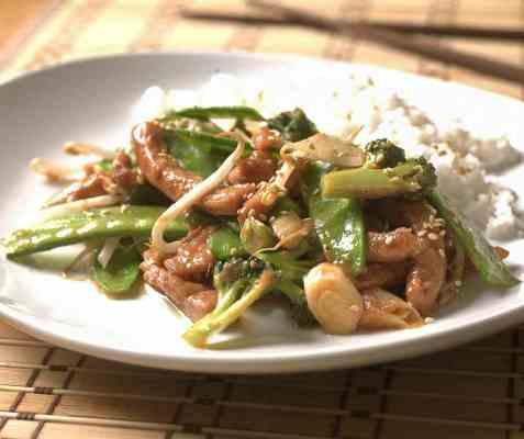Marinert svinefilet med wokgrønnsaker oppskrift.