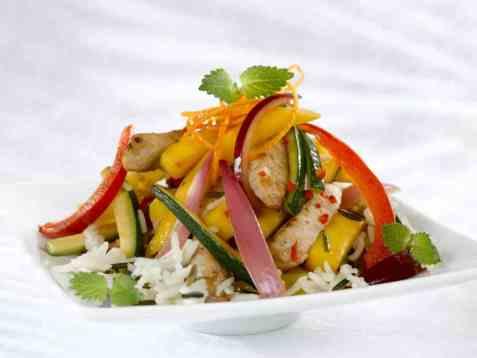 Spicy wok med squash, mango og paprika oppskrift.