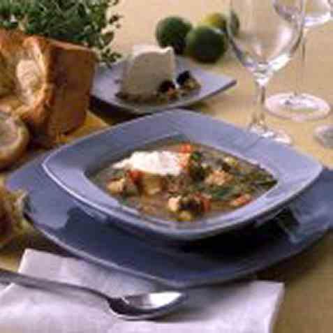 Fiskesuppe med hvitløksaioli oppskrift.