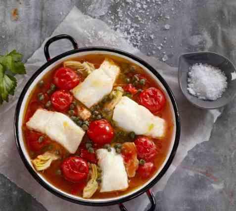 Skrei med smak av middelhavet oppskrift.