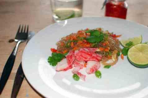 LobNobs med glassnudler og grønnsaker oppskrift.