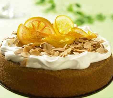 Mandel- og appelsinkake oppskrift.