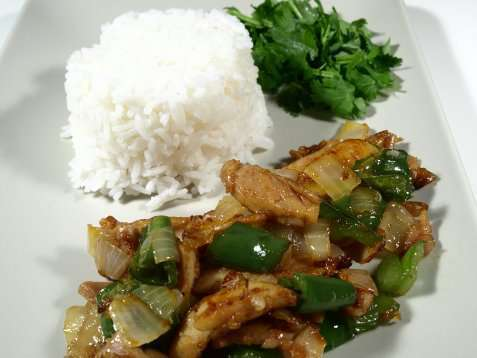 Ris med stekt kylling med sitrongress,ingefær og c oppskrift.