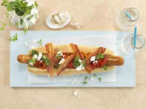 Hot chilipølse - footlong chili dog oppskrift.