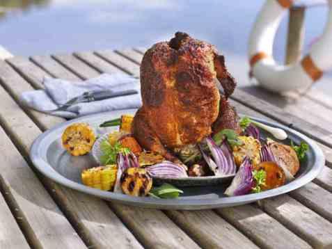 Øldampet kylling på grillen oppskrift.