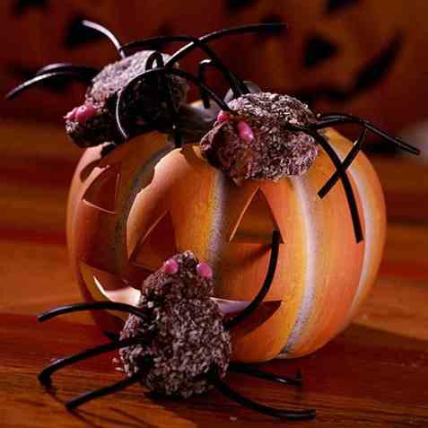 Edderkopper til halloween oppskrift.