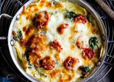 Vegetarlasagne med spinat oppskrift.