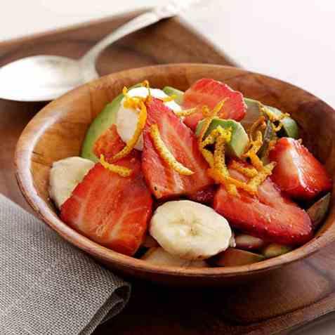 Avokado og jordbærsalat oppskrift.