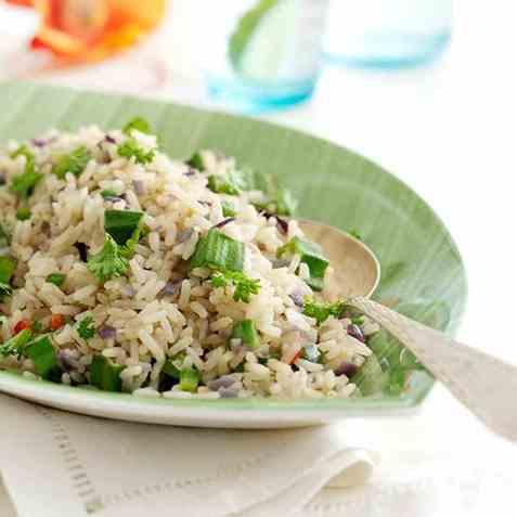 Stekt ris med okra oppskrift.