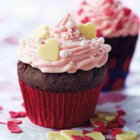 Valentine cupcakes oppskrift.