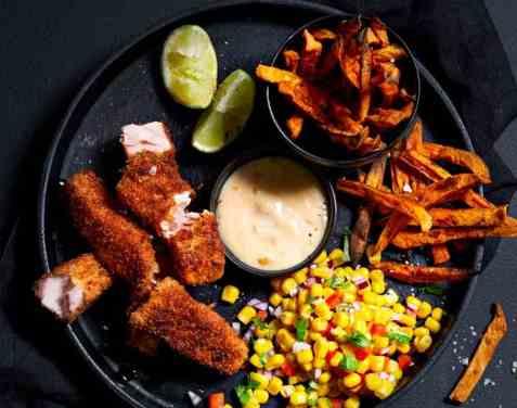 Crispy fish fingers oppskrift.