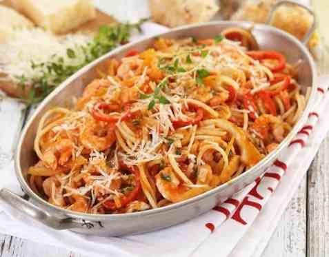 Spaghetti med reker og fennikel oppskrift.