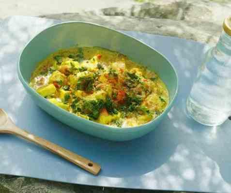 Paneer moilee vegetarcurry oppskrift.