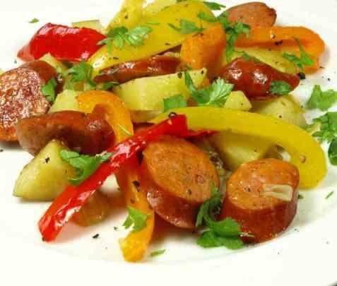 Potetpanne med Jens Eide spansk krydderpølse oppskrift.