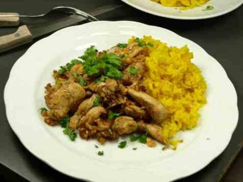 Kylling med hvitløkris oppskrift.