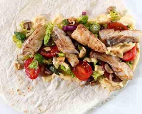 Wrap med stekt torsk oppskrift.