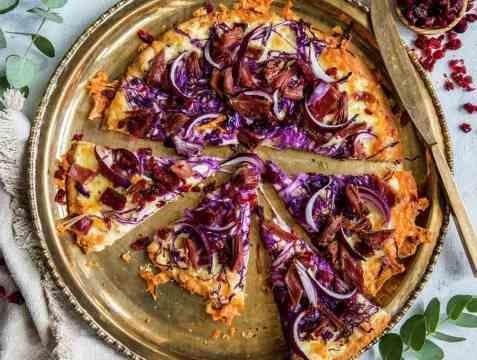 Pizza med pinnekjøtt oppskrift.